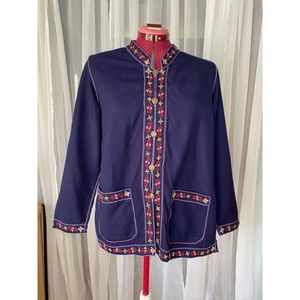 Vintage boho jacket with embroidered boarder sz XL